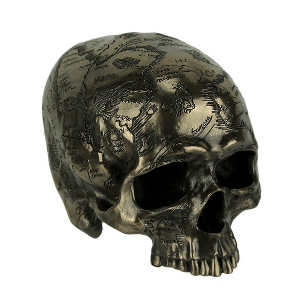 Bronze Finish Craniumography Old Treasure Map On Skull Statue - 4.5 X 6 X 4.25 inches