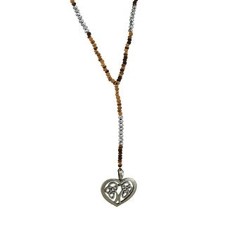 Celtic Heart Wood And Silver Bead Y Necklace One Size