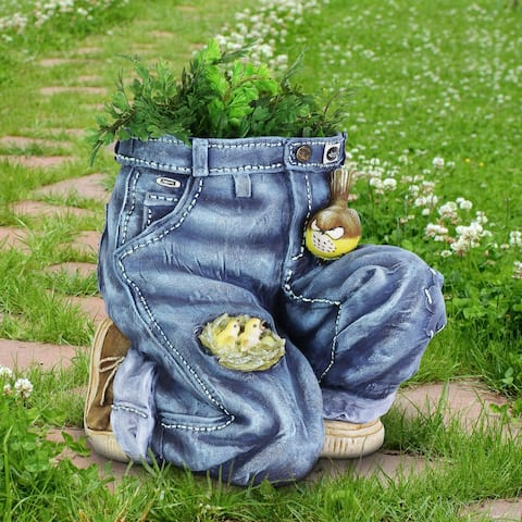 Exhart Hand Painted Bended Knee Blue Jeans with Birds Resin Planter, 13.5 by 13 Inches