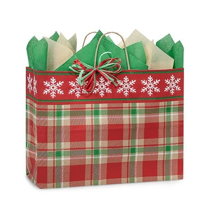"Pack Of 25, Vogue 16 X 6 X 12"" Christmas Plaid Snowflake Bags W/Kraft Paper Twist Handles Made In Usa"
