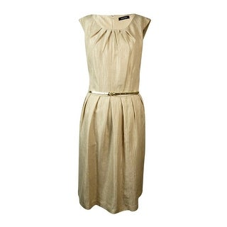 Ellen Tracy Women's Woven Belted Pleated Pocket Dress - LINEN - 10