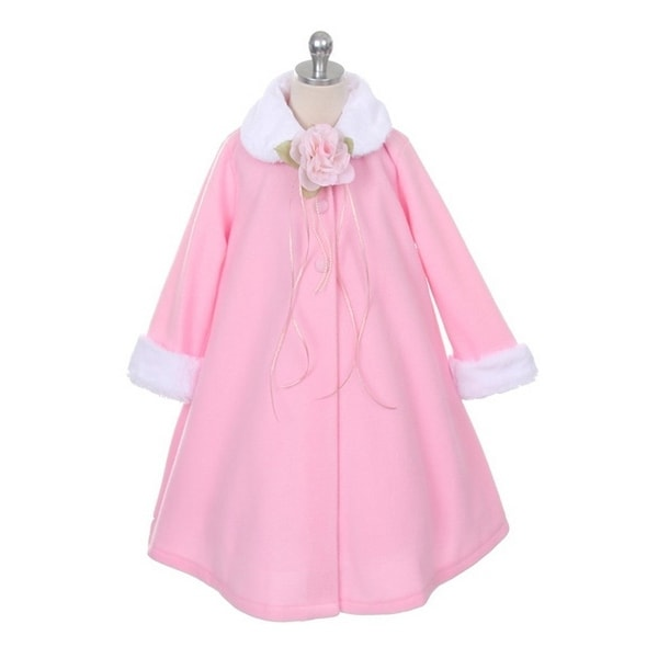 Kids Dream Pink Fleece Faux Fur Collar Cuff Stylish Coat Girls 2T