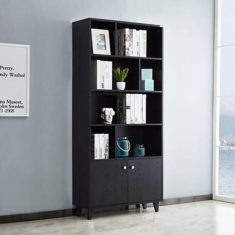 Transitional Wooden 8-shelf Storage Standard Display Bookcase