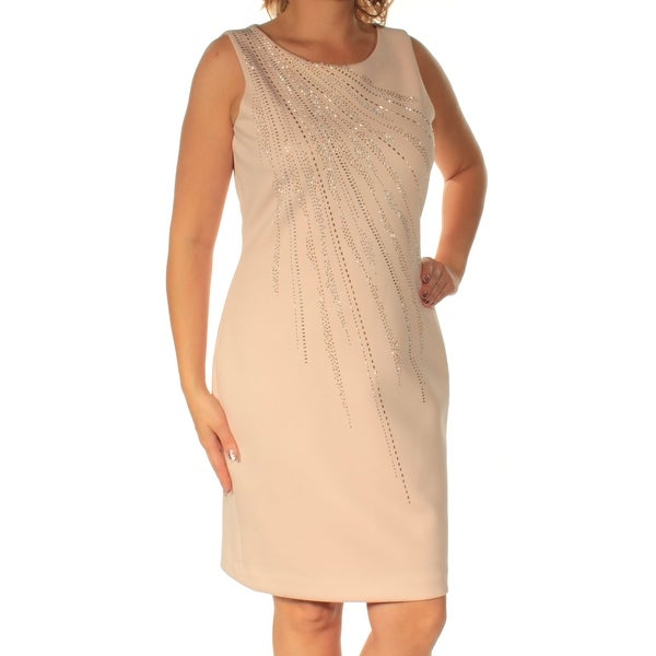 c1bf119167f Shop CALVIN KLEIN Womens Pink Beaded Sleeveless Jewel Neck Above The Knee  Sheath Wear To Work Dress Size  8 - Free Shipping On Orders Over  45 -  Overstock - ...