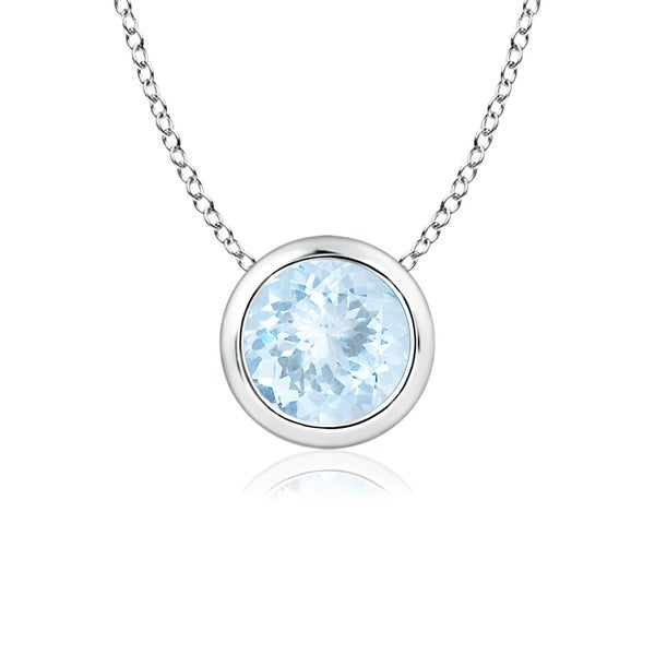 Bezel Set Round Aquamarine Solitaire Pendant in 14K White Gold(5mm Aquamarine)