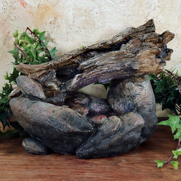 Sunnydaze Fallen Log on River Rock Tabletop Fountain with LED - 10 Inch Tall