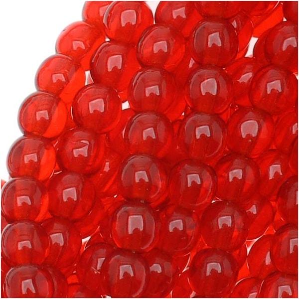 Czech Glass Druk 4mm Round Siam Red (100)