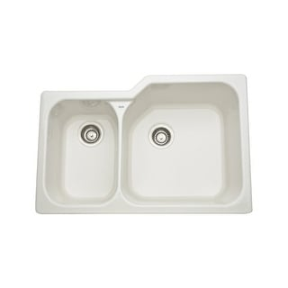 "Rohl 6339 33"" Allia Double Basin Undermount Fireclay Kitchen Sink with Large Rig"