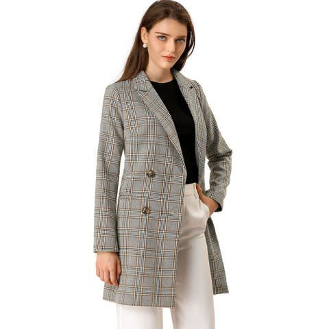 Women's Double Breasted Plaid Check Outwear Jacket Coat M (US 10) - Gray Khaki
