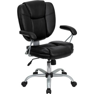 Aberdeen Mid-Back Black Leather Swivel Home/Office Task Chair w/Arms, Pillow Top