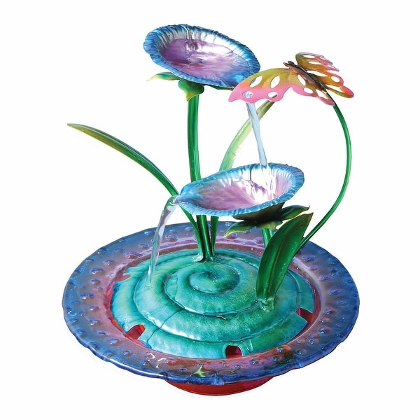 Purple Iris Glass and Metal Indoor Fountain with Butterfly Sculpture