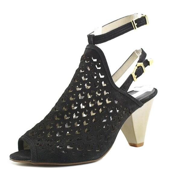 Matt Bernson Maja Women Peep-Toe Leather Black Slingback Heel