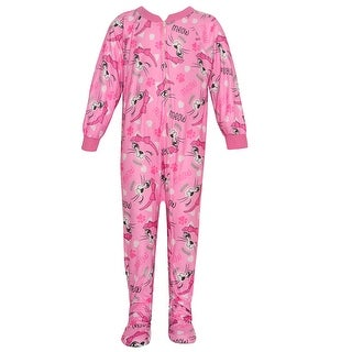 Mon Petit Little Girls Pink Zipper Cat Print Overall Footed Pajama