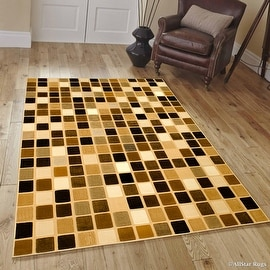 """AllStar Rugs Brown Modern Black Squares Contemporary Area Rug (5' 2"""" x 7' 2"""")"""