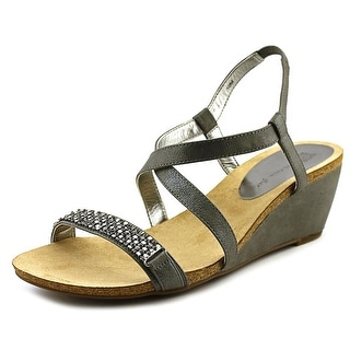 Anne Klein Jasia Open Toe Canvas Wedge Sandal
