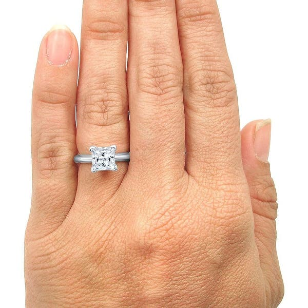 2.56 TCW Princess Cut DVVS1 Moissanite Engagement Ring In 14K Yellow Gold Plated