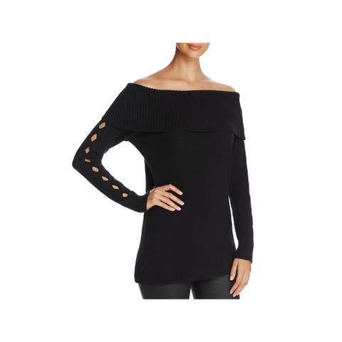 Love Scarlett Womens Pullover Sweater Cut-Out Cowl Neck - Black - L