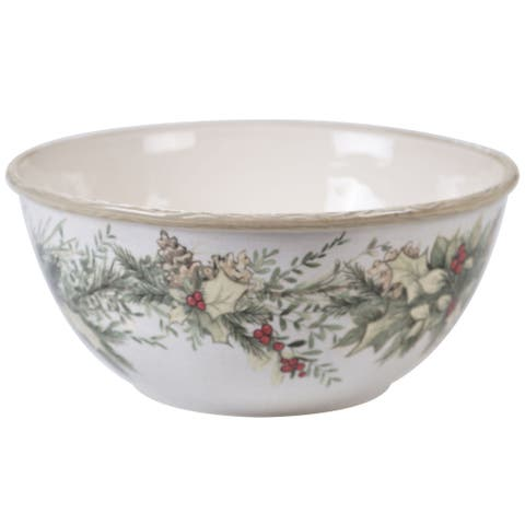 """White and Green Contemporary Thanksgiving Deep Bowl Set 11"""""""