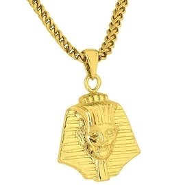 Mens Designer New Egyptian Pharaoh Necklace Pendant Piece 18K Gold Tone Franco Necklace 24IN