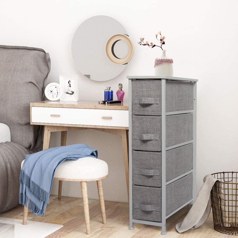 Shop Kinbor 4 Drawer Dresser Tower Vertical Fabric Dresser Storage Organizer Unit For Small Bedroom Closet Entryway Nursery Room Overstock 32305560