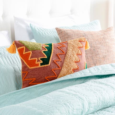 Einie Boho Patchwork 12x20-inch Lumbar Throw Pillow