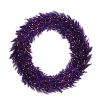 5' Pre-Lit Purple Ashley Spruce Christmas Wreath - Clear & Purple Lights