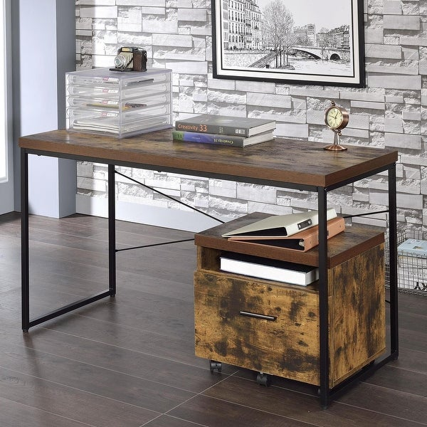 Carbon Loft Kehlmann Black Metal and Wood Desk. Opens flyout.
