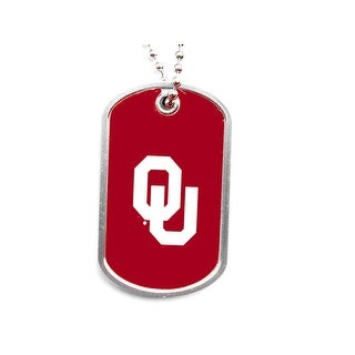 Oklahoma Sooners Dog Tag Domed Necklace Charm Chain NCAA