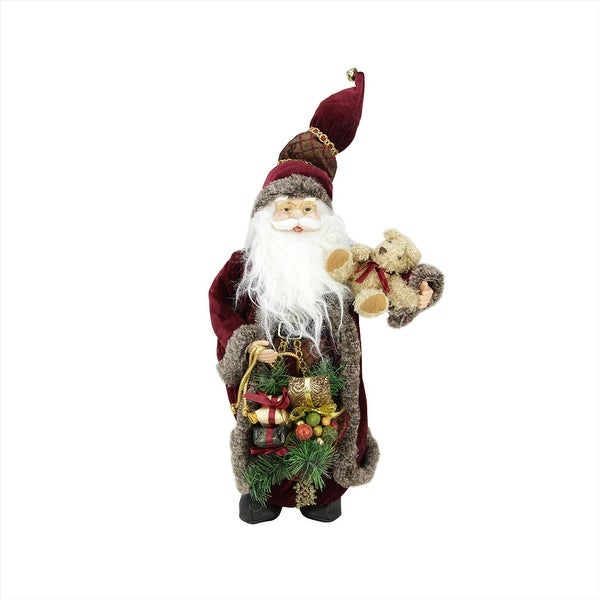 "16"" Noble Standing Santa Claus in Burgundy Robe Christmas Figure with Teddy Bear and Gift Bag"