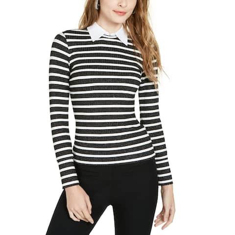 Trina Turk Women Sweater Top Black Size Medium M Collar Stripe Pullover