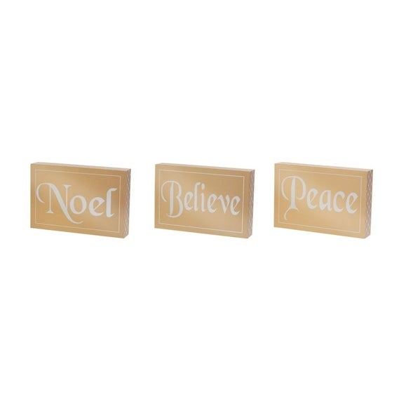 "Set of 6 Gold Metallic ""Noel, Believe, & Peace"" Table or Wall Plaques 5.75"""