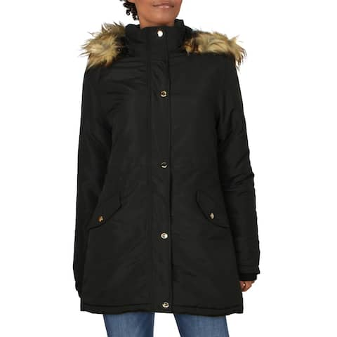 Adrienne Vittadini Women's Winter Puffer Coat with Faux Fur Trim Hood - Black