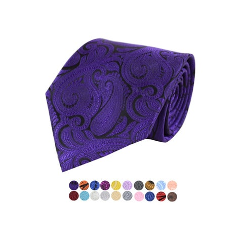 Men's Paisley 100% Microfiber Poly Woven Wedding Neck Tie - regular