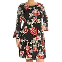 CONNECTED Womens Red Floral Long Sleeve Jewel Neck Above The Knee Drop Waist Dress  Size: 8
