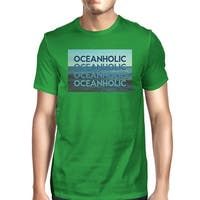 Oceanholic Photography Mens Green Tee Perfect Summer Cotton Top