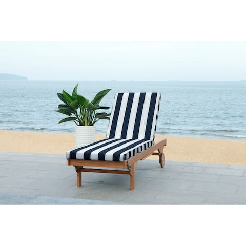 "Safavieh Outdoor Living Newport Navy/ White Stripe Cart-Wheel Adjustable Chaise Lounge Chair - 27.6"" x 78.7"" x 14.2"""
