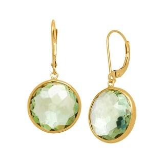 13 ct Green Amethyst Drop Earrings in 14K Gold