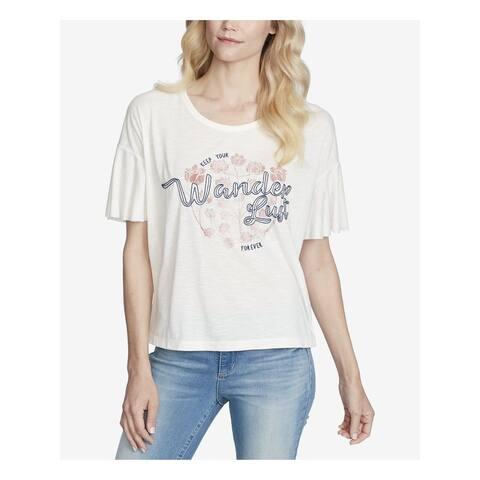 JESSICA SIMPSON Ivory Short Sleeve T-Shirt Top Size XS