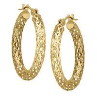 Just Gold Openwork Tube Hoop Earrings in 14K Gold