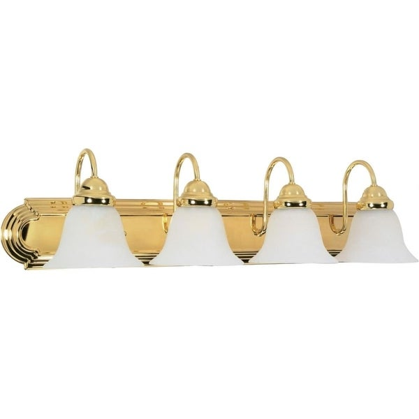 """Nuvo Lighting 60/330 Ballerina 4 Light 30"""" Wide Vanity Light with Alabaster Glass Shades - Polished brass"""