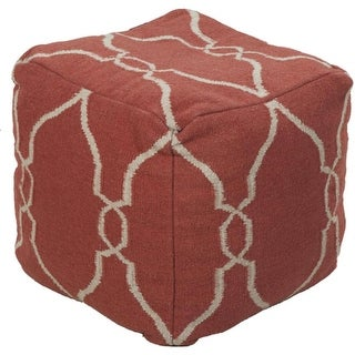 "18"" Cinnamon and Beige Static Circles Square Wool Pouf Ottoman"