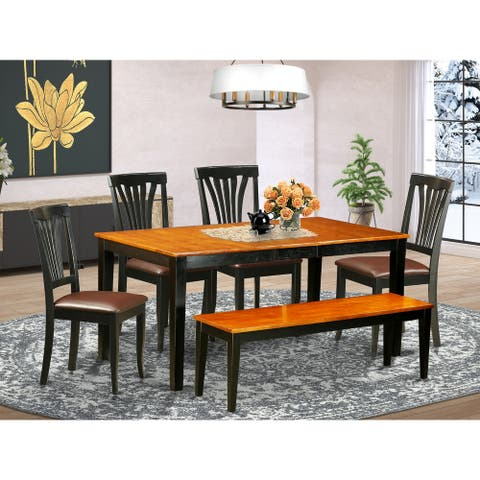 6 PC Kitchen Table set-Dining Table and 4 Wood Dining Chairs plus a bench (Finish Option)