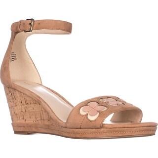 Nine West Julian Ankle Strap Wedge Sandals, Dark Natural