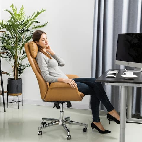 Glitzhome Mid-Century Modern Leatherette Adjustable Office Chair