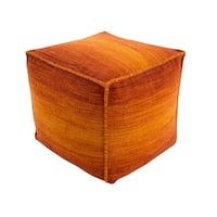 """18"""" Ombre Ambience Cadmium Orange, Dark Pastel Red and Amber Wool Square Pouf Ottoman"""
