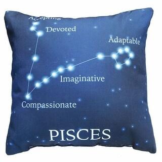 Horoscope Navy Blue Decorative Throw Pillow - Pisces
