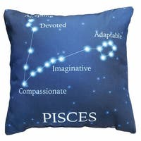 Horoscope Navy Blue Decorative Throw Pillow - Pisces