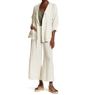 Free People NEW Beige Womens Size XS Striped Pocketed Linen Beachy Suit