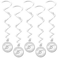 "Club Pack of 30 Metallic Silver ""25th"" Anniversary Whirl Hanging Decorations 40"""