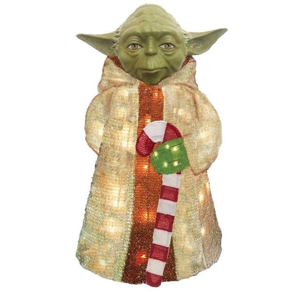 "28"" Pre-Lit Star Wars Jedi Master Yoda 3-Dimensional Soft Tinsel Christmas Display"